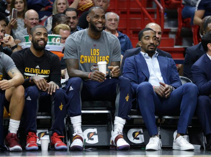 Kyrie Irving, LeBron James, J.R. Smith
